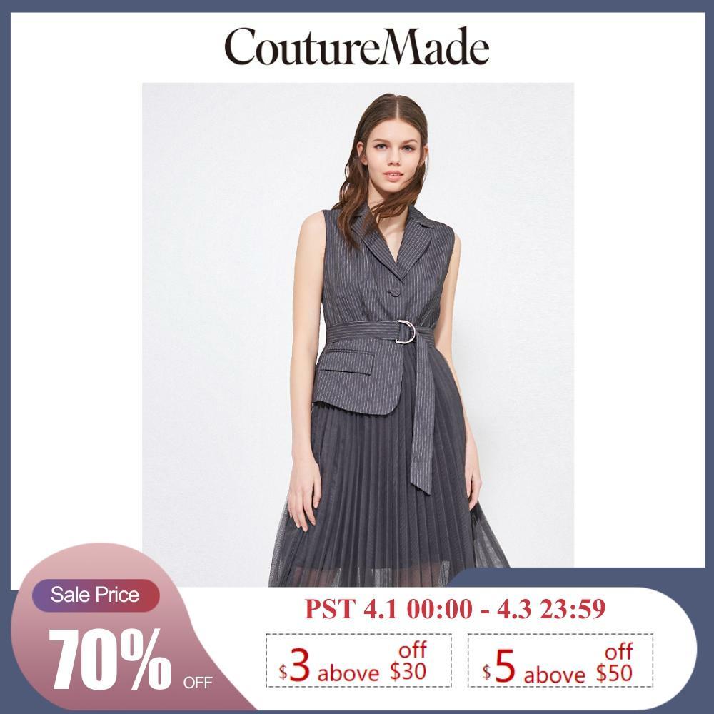 Vero Moda CoutureMade Gauzy Pleated Tailored Collar Sleeveless Dress   31937A510