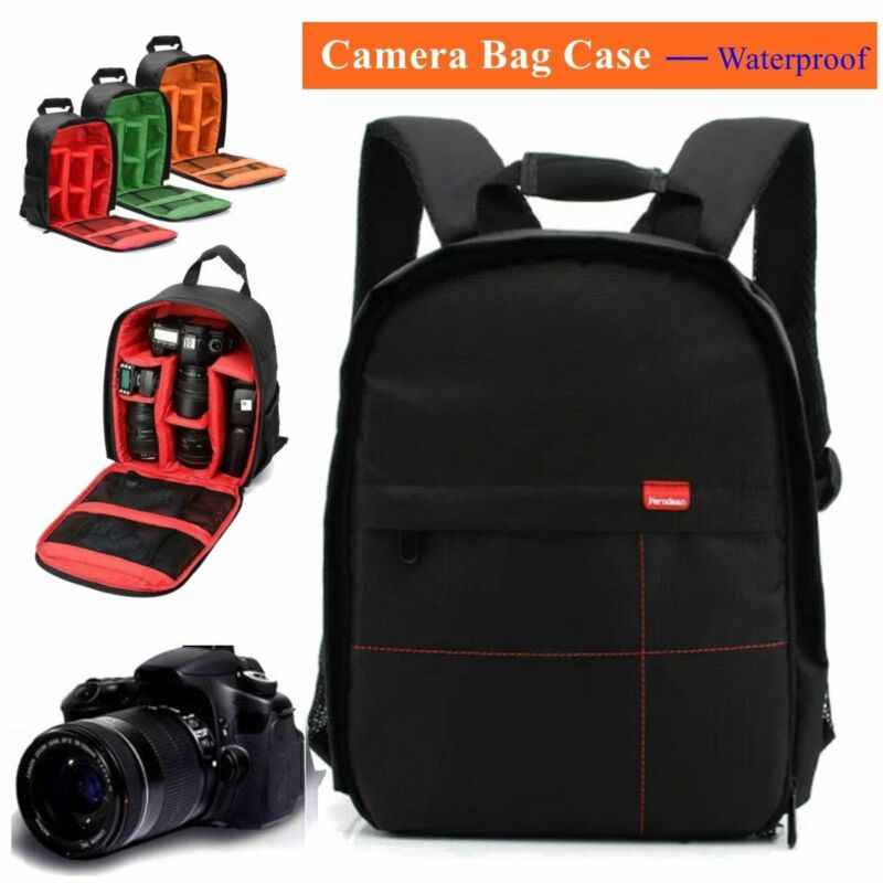 Waterproof DSLR SLR Camera Soft Case Bag Backpack Rucksack For Canon Nikon OQF