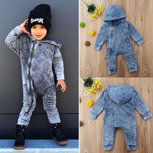 Kids Baby Boy Girl Denim Romper Zipper Outfits