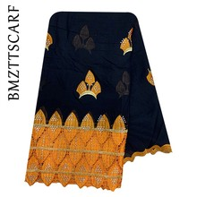 New African Scarfs Muslim Embroidery Women Big Cotton Scarf for Shawls