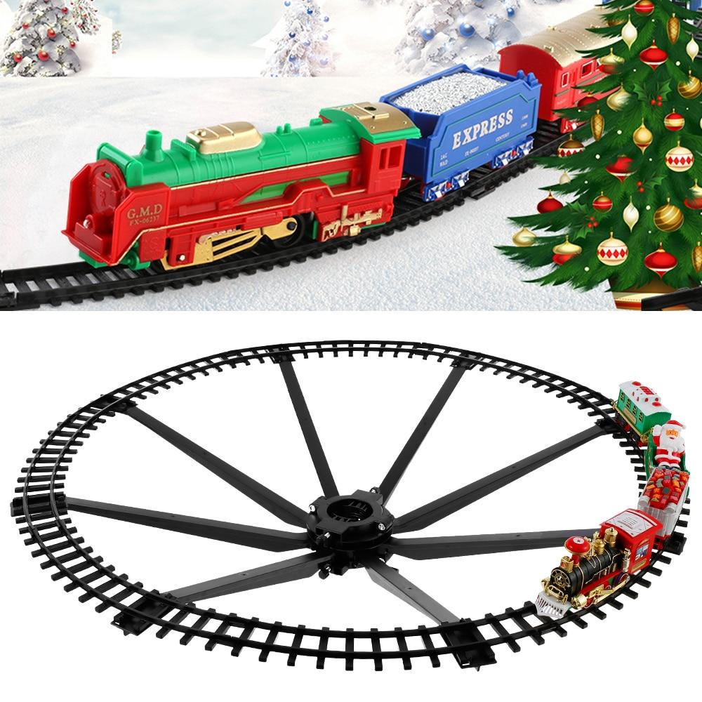 Рождественский Электрический Железнодорожный автомобиль, игрушечный поезд, Детский Электрический поезд, гоночный Дорожный транспорт, строительные игрушки, подарок для детей