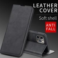 Funda de cuero magnética con tapa para teléfono móvil, carcasa de lujo con soporte para iPhone 12 Mini 11 Pro XS Max XR X 7 8 6 6s Plus SE 2020