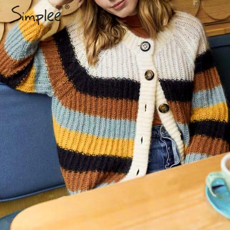 Simplee Button Korean Harajuku Cardigans Sweater Stripe Patchwork Knitted Cardigan Casual Autumn Winter Knitwear Cardigan