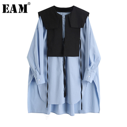 [EAM] Women Blue Split Big Size Long Blouse New Round Neck Long Sleeve Loose Fit Shirt Fashion Tide Spring Autumn2021 1X740