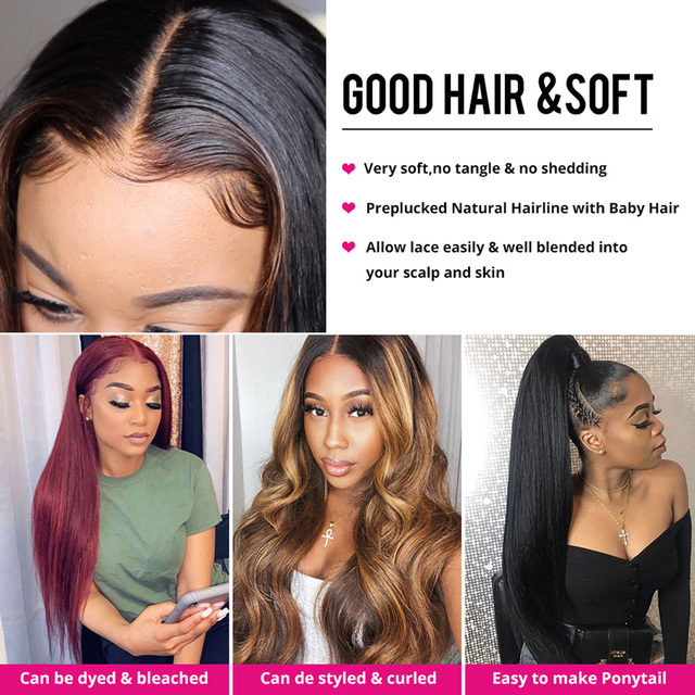 Extensiones de cabello humano liso con cierre de encaje, extensiones de pelo ondulado brasileño, Remy 5