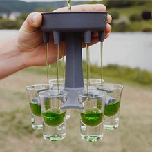 Shot Glass Bar-Accessory Dispenser Drinking-Games Gifts Great-Party Ways Six Grey Multiple