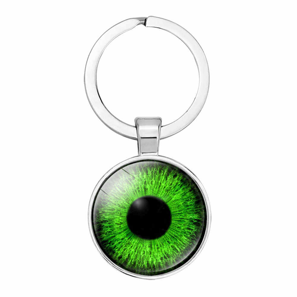 PUNK Cat Eyes ภาพ Evil Eyes Silver สีพวงกุญแจจี้แก้ว Cabochon ผู้หญิงกระเป๋าถือ Key Holder