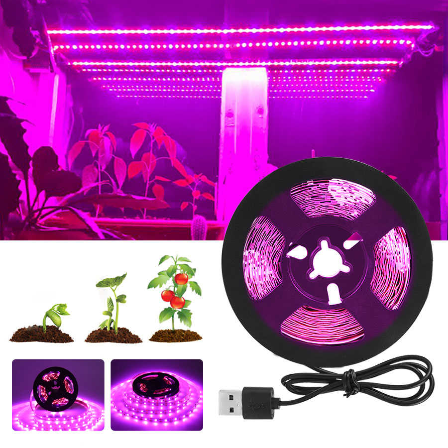 Full Spectrum LED Grow Light USB LED Strip 0.5 M 1 M 1.5 M 2 M 3 M 2835 SMD LED Phyto Lampu untuk Rumah Kaca Hidroponik Tanaman Tumbuh