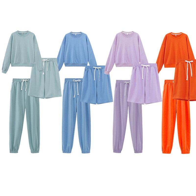 Toppies-Conjunto de dos piezas de primavera para mujer, chándales Harajuku de Color caramelo, sudaderas, Bermudas, pantalones cortos, cintura elástica, camiseta para el sudor, 2021