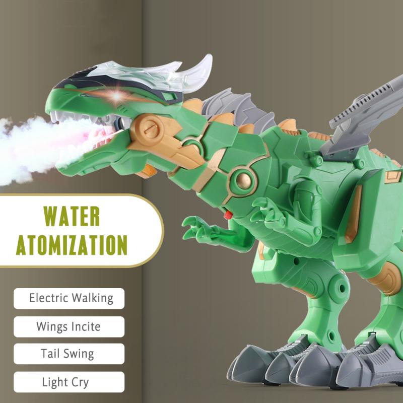 Universal Machine Electric Dinosaur Toy Kids Large Walking Spray Dinosaur Robot With Light Sound Mechanical Pterosaurs Dinosaur
