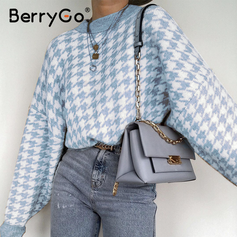 Geometric Sweater Berrygo Casual Pullover Pull-Femme Houndstooth Vintage Women Knitted