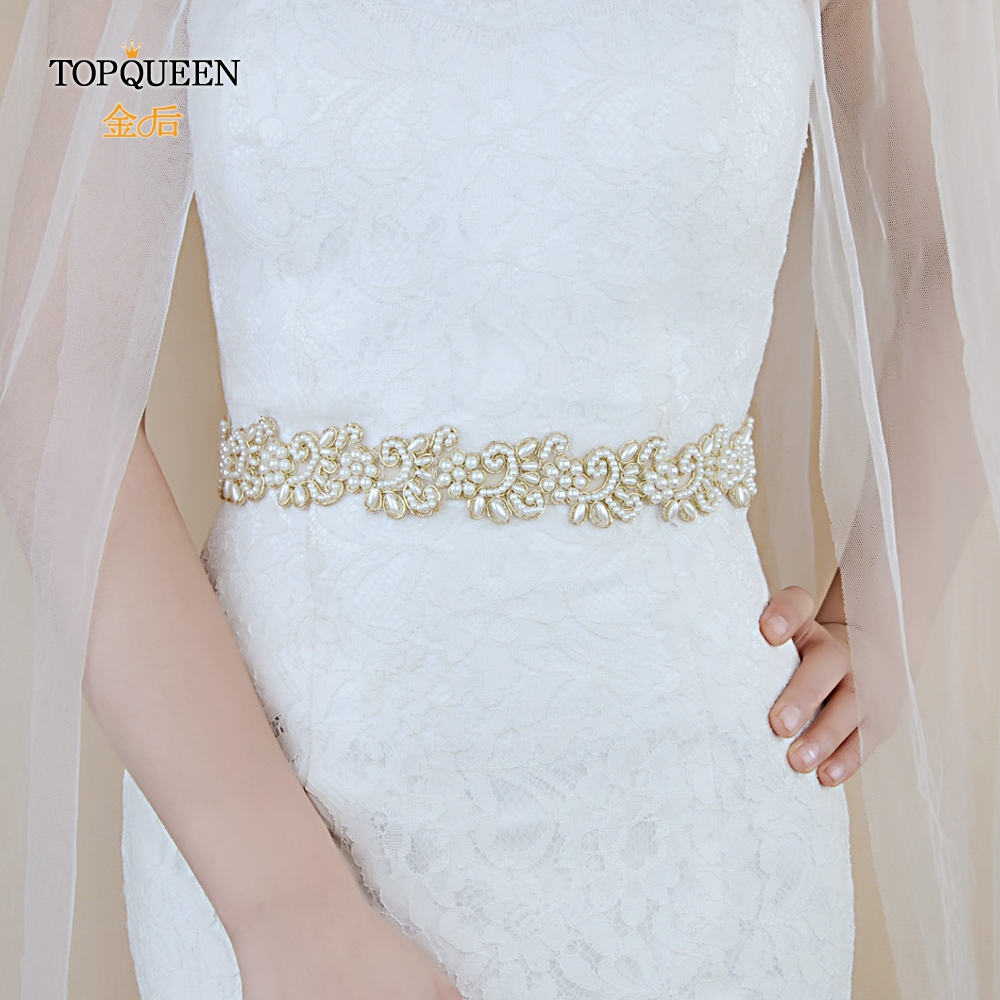 TOPQUEEN S412 Belt With Pearls Bridal Girdle Bridal Ribbon Belt Bride Wedding Dress Pearl Belt  For Bridal Bridesmaids Dresses