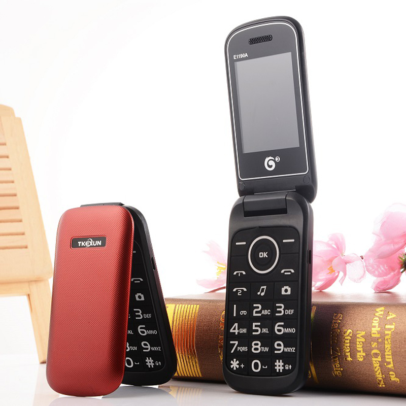 "2G Unlock Plastic Flip Mobile Phone Extra Slim Light Large Keyboard Dual Sim 2.4"" Display Camera SOS Quick Dial Low Price"