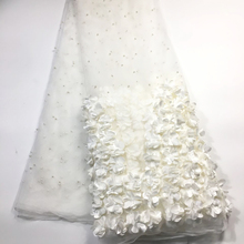 Off White French 3D Lace African Lace Fabric 2020 High Quality Lace with Beads, Latest Nigerian Lace Fabrics for Wedding M23622