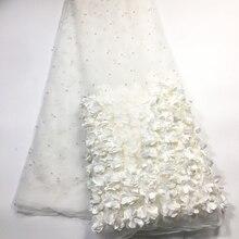 Tissu en dentelle 3D française blanc cassé, dentelle africaine, dentelle de haute qualité, avec perles, derniers tissus de dentelle nigériane pour mariage, M23622, 2020