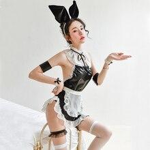 Black Sexy Bunny Girl Perspective Chiffon Turtleneck Backless Cute Maid Student Uniform Passion sleepwear nightdress Set passion eve set 1