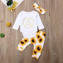 3pcs Newborn Clothes 2019 Autumn Baby Sportswear Long Sleeve Bodysuits Girls Suits Sunflower Pants Clothing Set