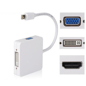 Male-Male Mini Display Port for Thunderbolt to HDMI VGA DVI Combination Adapter Cable For MacBook Pro Air 3in1 rectangle mini display port dp thunderbolt to dvi vga hdmi converter adapter for apple imac mac mini pro air book