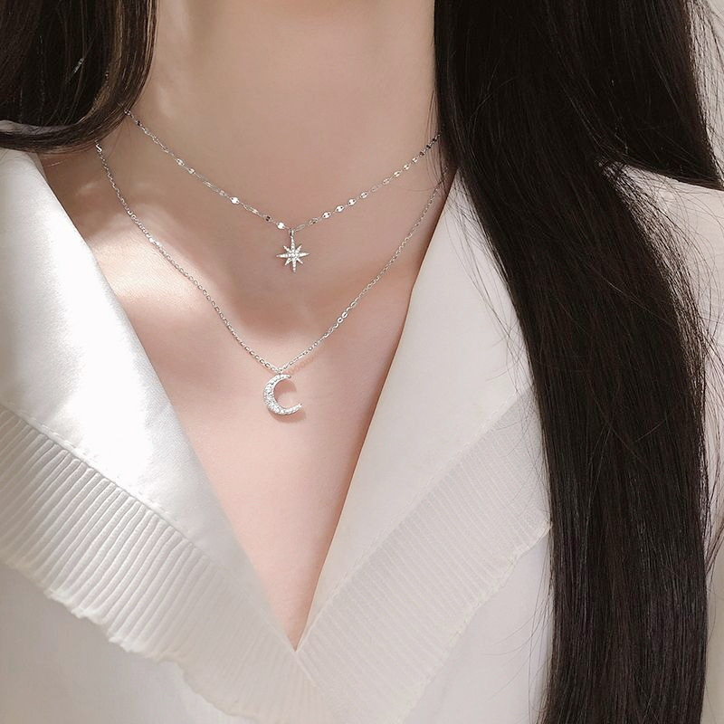 OBEAR Fashion  Silver Plated Moon and Star Double Layer Chain Link Pendant Necklaces for Women Fine Jewelry