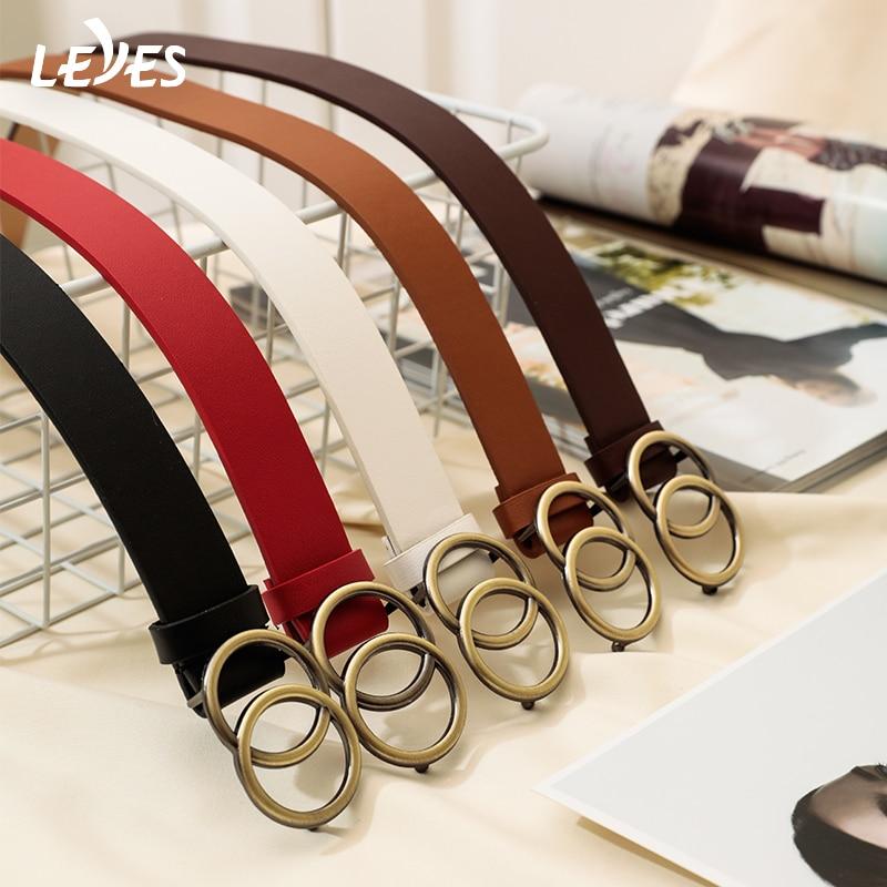 Slim Skinny Leather Belt For Women Alloy Double Ring Buckle Simple Fashion Adjustable Belt Retro Punk Ladies Dress Jeans Belts