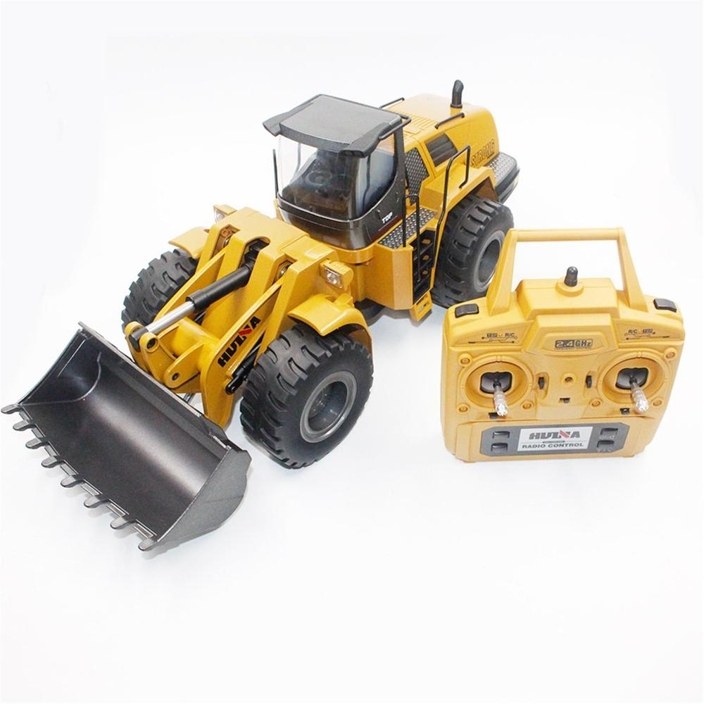 HUINA TOYS 1583 <font><b>1/14</b></font> 10CH Alloy RC Bulldozer Truck Toy with Front Loader Truck Engineering Construction Vehicle RTR Toy for Boys image
