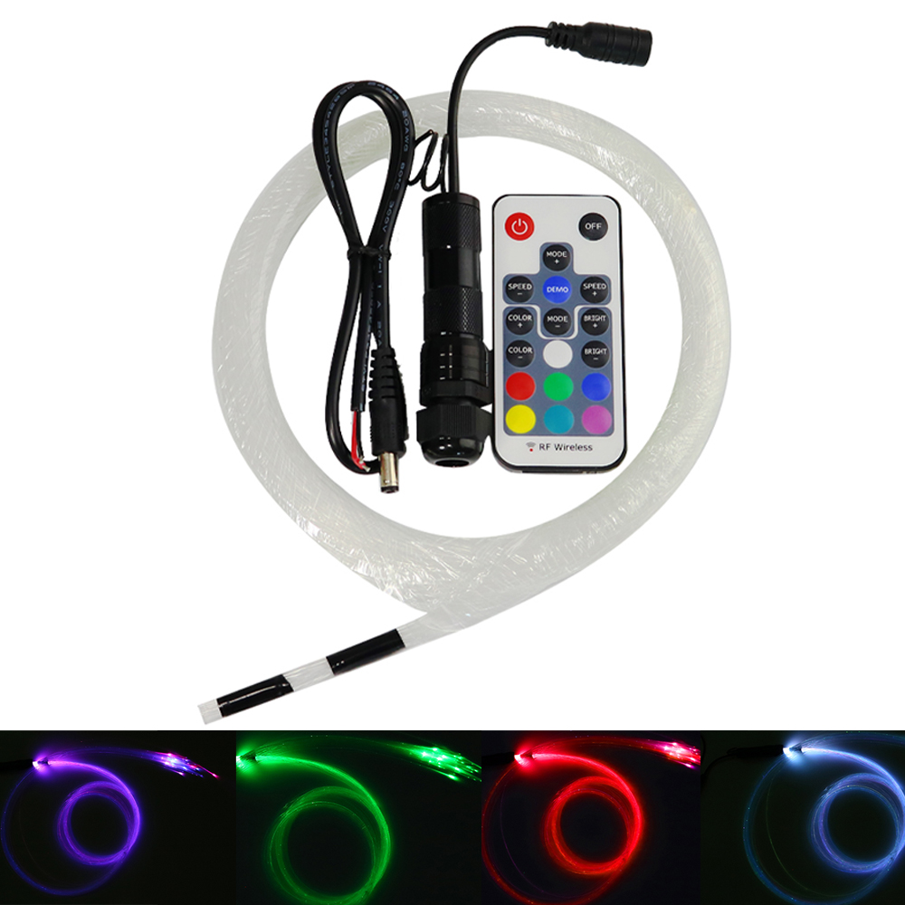 DC12V 2W  RGB Led Fiber Optic Lighting 0.75mm*50pcs*2M Optical Fiber For  Car Starry Lights Decoration