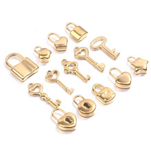 5pcs/lot Stainless Steel Gold Lock Key Charms Couple Love Pendants for Diy Hip Hop Necklace Bracelet Jewelry Makings Wholesale
