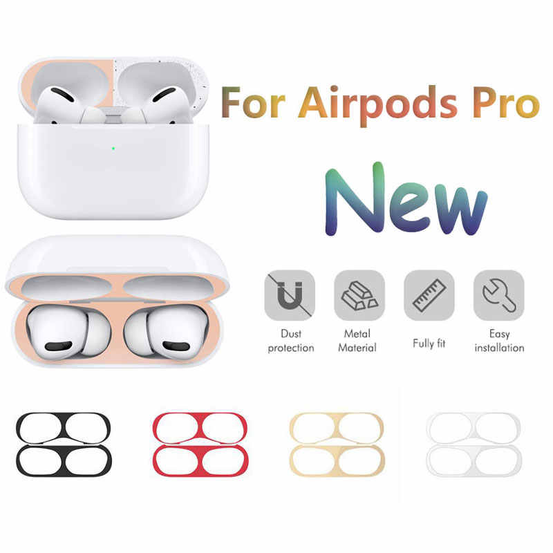 Metal Plating Dust Sticker for Apple Airpods Pro Skin Guard Sticker Case Cover Protective Skin for Airpods Pro 2019 Accessories