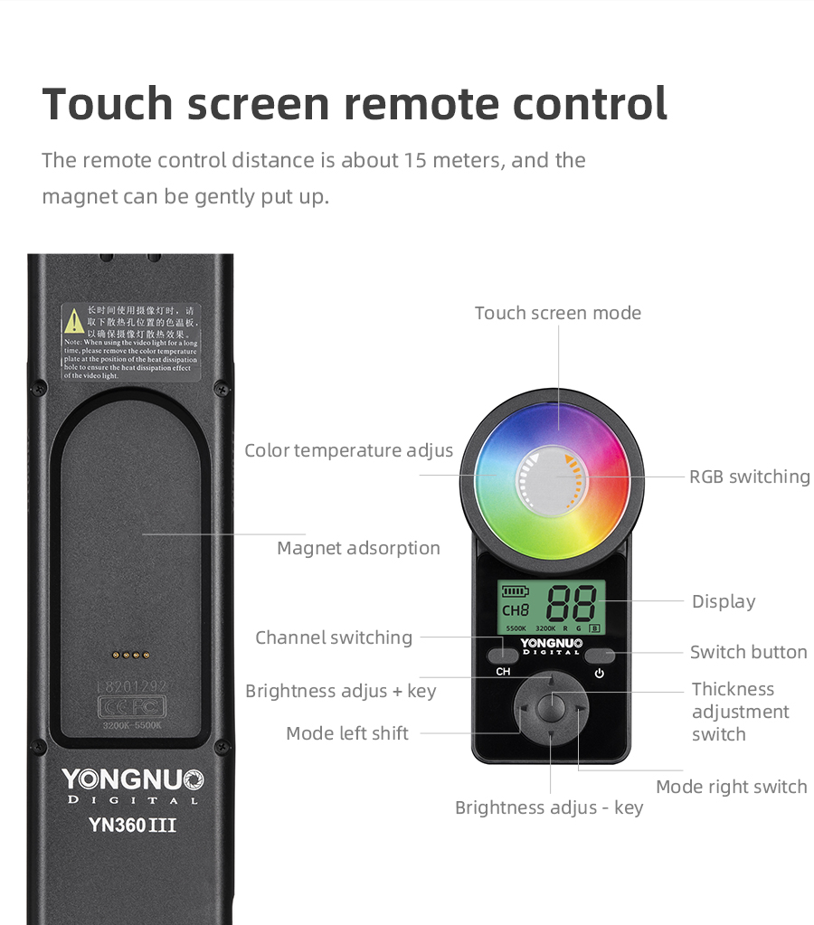Ha8c128239d3e4fd181f2b16d03a41375w Yongnuo YN360 III YN360III Handheld 3200K-5500K RGB Colorful Ice Stick LED Video Light Touch Adjusting Controlled by Phone App