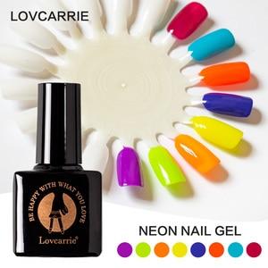 Image 2 - LOVCARRIE 8 Teile/satz UV Gel Nagellack 6,5 ml Tränken Weg Von Vernis Semi permanent Nail art Helle Neon Farbe Gelpolish lack Lak
