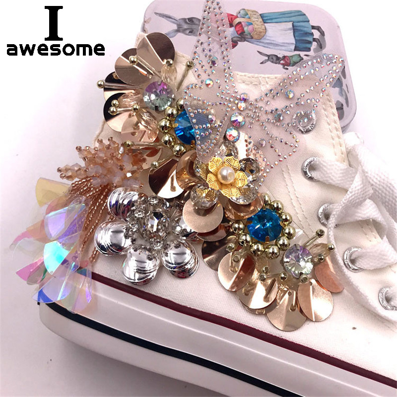 Shining Bling Flower Bridal Wedding Party Shoes Accessories For High Heels Shoes Boots Flats DIY Rhinestone Shoe's Decorations