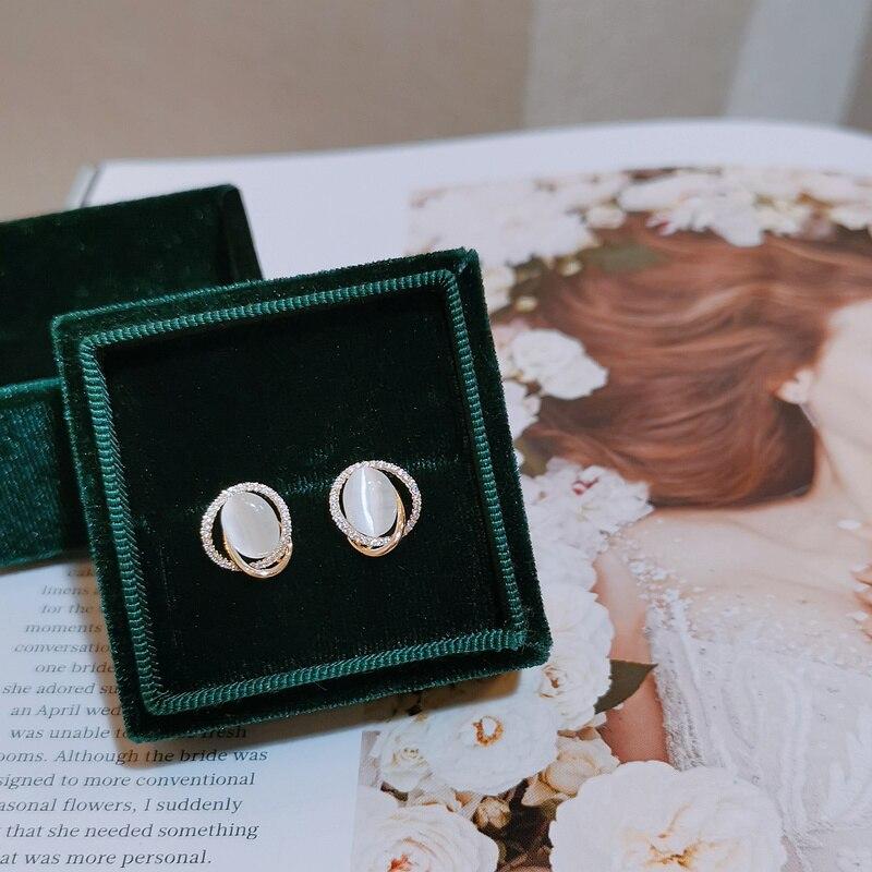 Luxury Female Geometric Round Zircon Crystal Stud Earrings Fashion Silver Color Wedding Jewelry Opal Earrings For Women
