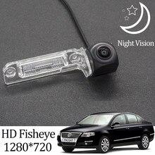 Owtosin câmera de visão traseira, hd 1280*720, olho de peixe, câmera para volkswagen passat b6, 2005, 2006, 2007, 2008, 2009 e 2010 acessórios para estacionamento