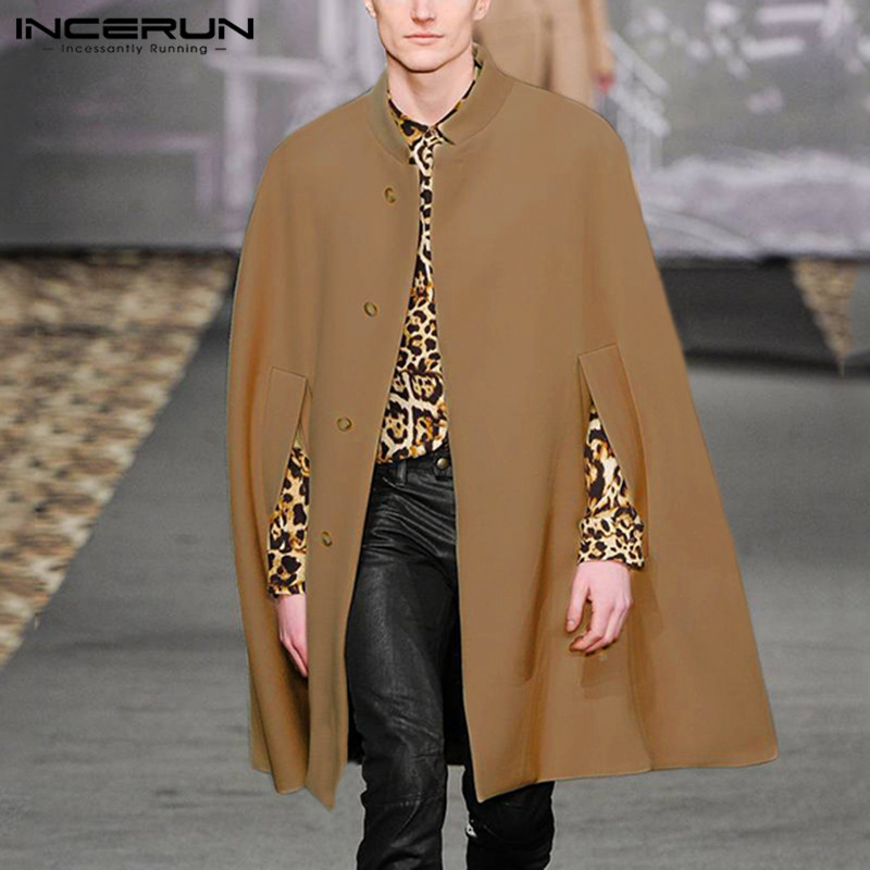 INCERUN Winter Fashion Men Cloak Coats Solid Casual Faux Blends Fleece Trench Overcoat 2019 Stand Collar Streetwear Jackets 5XL