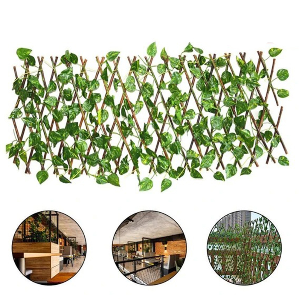 Retractable Artificial Garden Fence Expandable Faux Ivy Privacy Fence Wood Vines Climbing Frame Gardening Plant Home Decorations 1