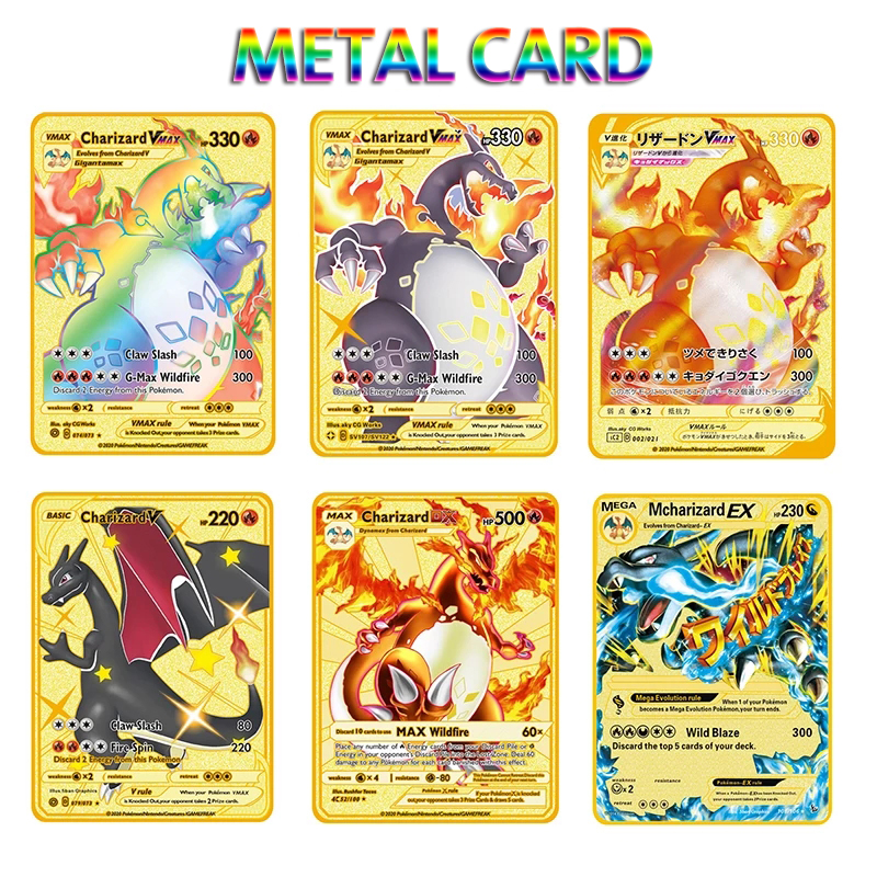 2021 NEW Pokemon Cards Metal Card V Card PIKACHU Charizard Golden Vmax Card Collection Gift Kids Game Collection Cards