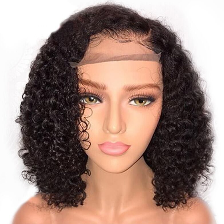Female wig with mid-length bangs, short curly hair, corn beard, African small volume high temperature silk chemical fiber wig