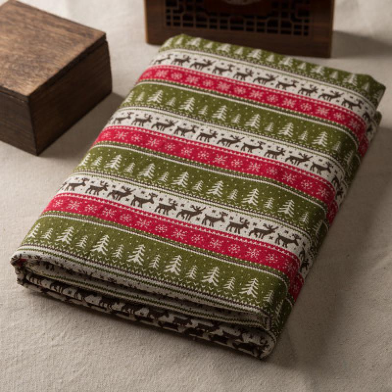 Christmas Deer Linen Plaid Fabric Garden Linen Cloth Tablecloth Fine Cotton Hug Pillowcase Curtain Fabric