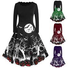 Women Long Sleeve Pumpkins Skull Halloween Evening Prom Costume Swing Vintage  Dress Party Props Drop Shipping 9.24