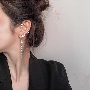 FLASHBUY Single New Korean Rhinestone Earrings 2020 Shiny Drill Arc Ear Hanging Clip Earrings for Women Minimalist Ear Cuff