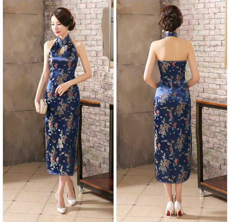 Navy Blue Mandarin Collar Women Chinese Dress Backless Long Satin Qipao Vintage Button Sexy Cheongsam Novelty Stage Show Clothes