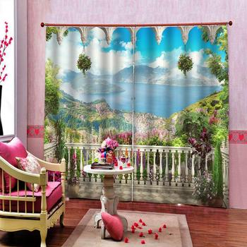 Pastoral style 3D Curtains For Living Room Bedroom nature scenery landscape curtains Blackout sunshade window curtain