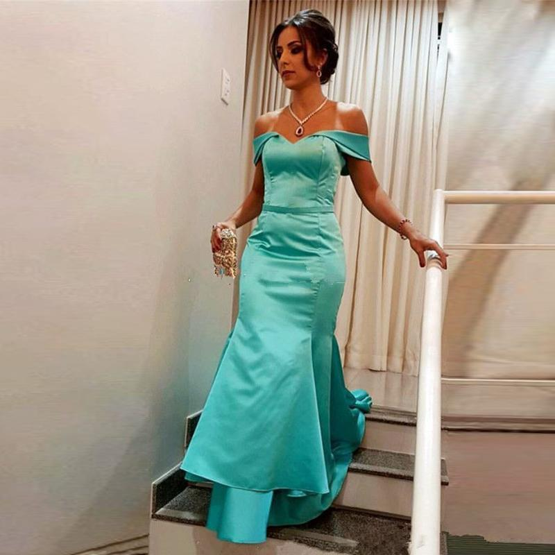 Mermaid Long Evening Dresses Off The Shoulder Ruffles Satin Mint Green Long New Prom Dresses Evening Party Gowns Robe De Soiree