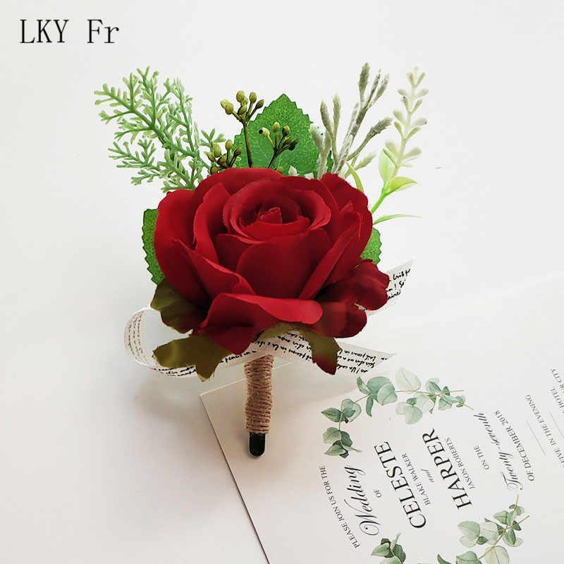 LKY FR Kancing Pengiring Pria Pernikahan Sutra Mawar Merah Bridesmaid Gelang Bunga Lubang Kancing Pernikahan Saksi Pernikahan Aksesoris