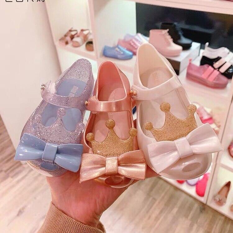 Mini Coroa Verão Sandálias Melissa Melissa Sandálias Da Geléia de 2019 Nova Menina Crianças Cute Sapatos Sandálias de Praia Criança Sapatos 13- 18CM