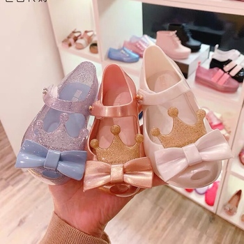 Mini Melissa 2020 New Girl Jelly Sandals Crown Summer Sandals Melissa Children Cute Sandals Beach Shoes Toddler Shoes 13-18CM image