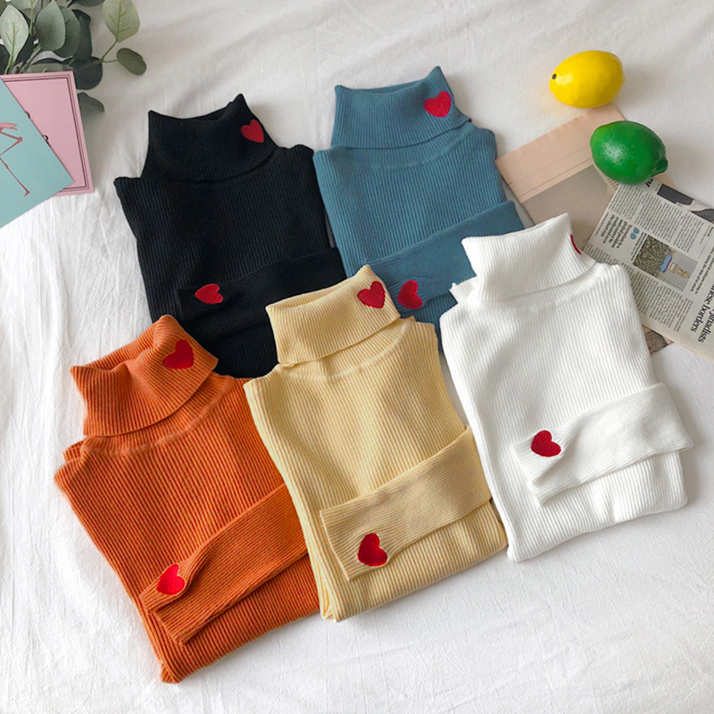 Winter Korean Women Sweater Heart Embroidery Turtleneck Long Sleeves Sweaters Women Knitted Pullovers Female Elastic Tops