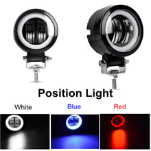 20W LED Work Light 1pcs 2pcs 4pcs 4X4 Tractor Offroad Position Light SUV Roof Bumper Lamp Red Blue White Angel Eyes Motorcycle