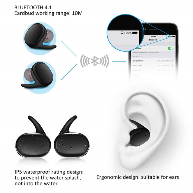 Savioke  Y30 Wireless Blutooth 5.0 Earphone Noise Cancelling Headset 3DSound Music In-ear Earbuds For Android IOS Cell 3