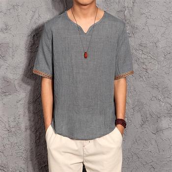 Japanese Cotton Linen shirt Men Summer Loose Short sleeve shirt men Breathable Cool Linen Thin High Quality Men's Clothing